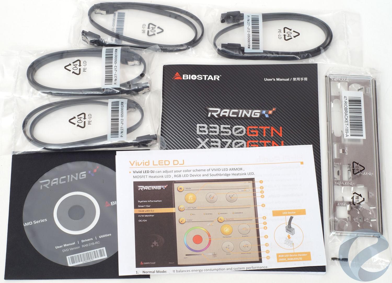 Упаковка и комплектация материнской платы Biostar Racing B350GTN