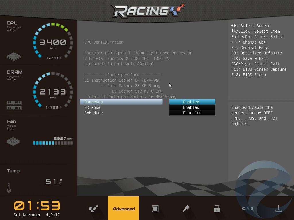 Интерфейс UEFI BIOS материнской платы Biostar Racing B350GTN