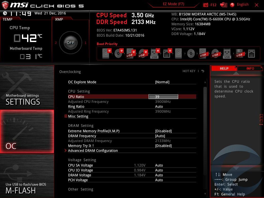 Интерфейс UEFI BIOS материнской платы MSI B150M MORTAR ARCTIC