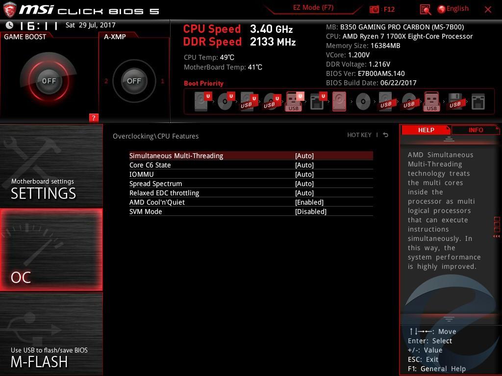 Интерфейс UEFI BIOS материнской платы MSI B350 GAMING PRO CARBON