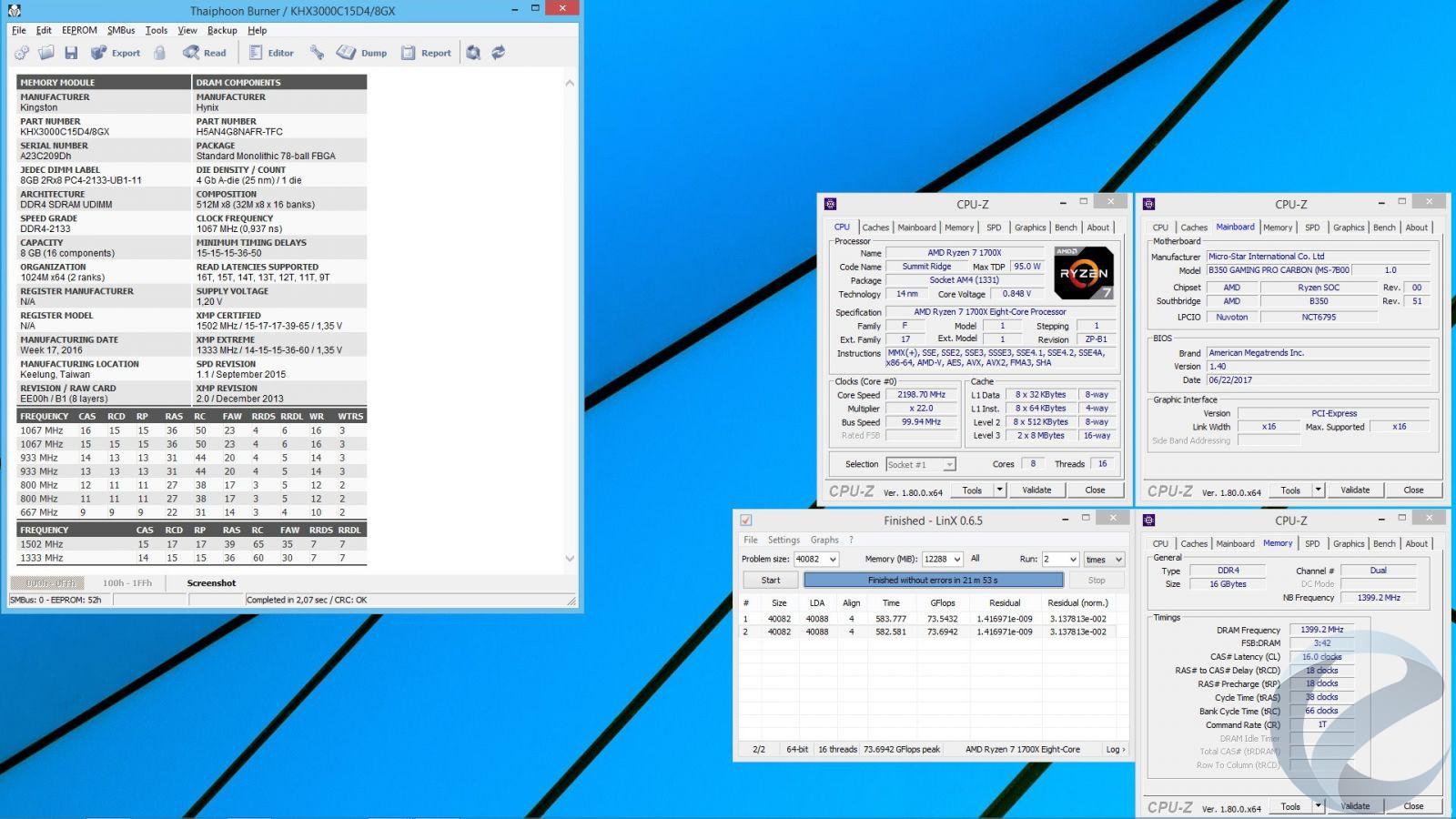 Разгон процессора и памяти на материнской плате MSI B350 GAMING PRO CARBON