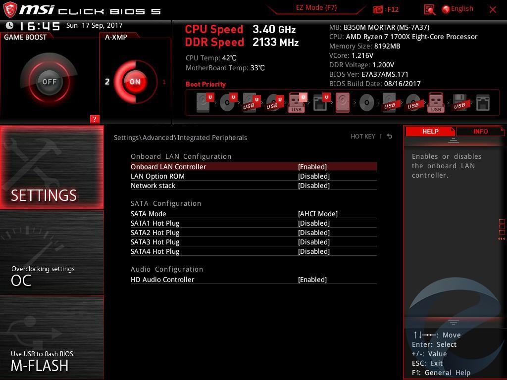 UEFI BIOS и ПО материнской платы MSI B350M MORTAR