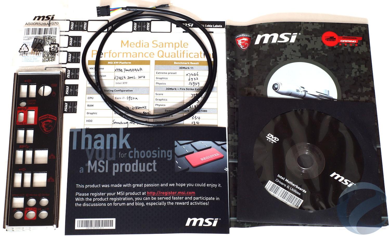 Упаковка и комплектация материнской платы MSI X99A TOMAHAWK
