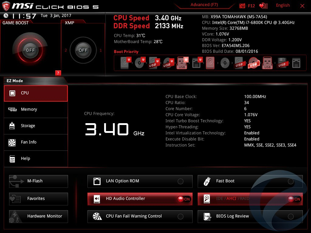 UEFI BIOS материнской платы MSI X99A TOMAHAWK