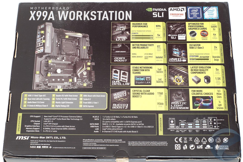 Упаковка и комплектация материнской платы MSI X99A WORKSTATION
