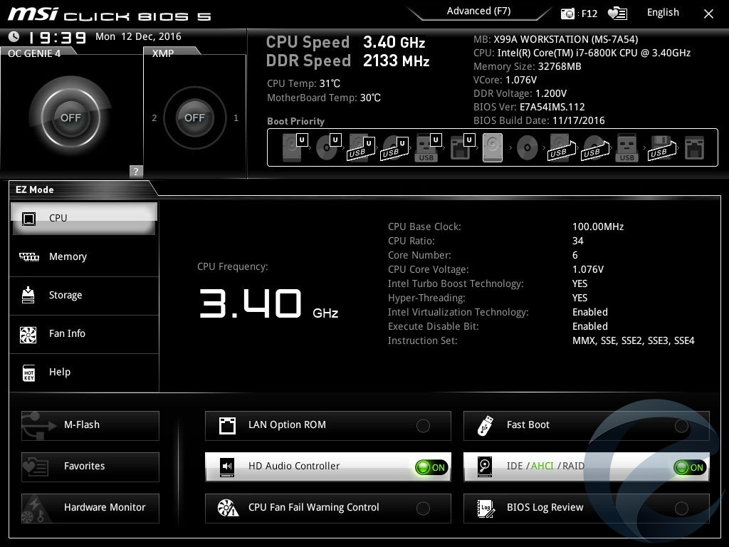 UEFI BIOS материнской платы MSI X99A WORKSTATION