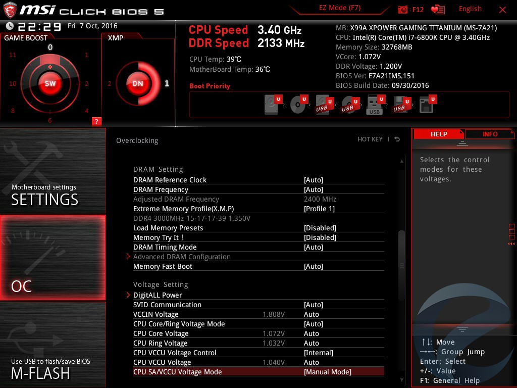 UEFI BIOS материнской платы MSI X99A XPOWER GAMING TITANIUM