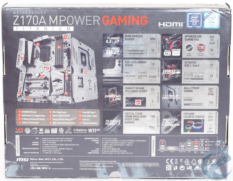 Упаковка и комплектация MSI Z170A MPOWER GAMING TITANIUM