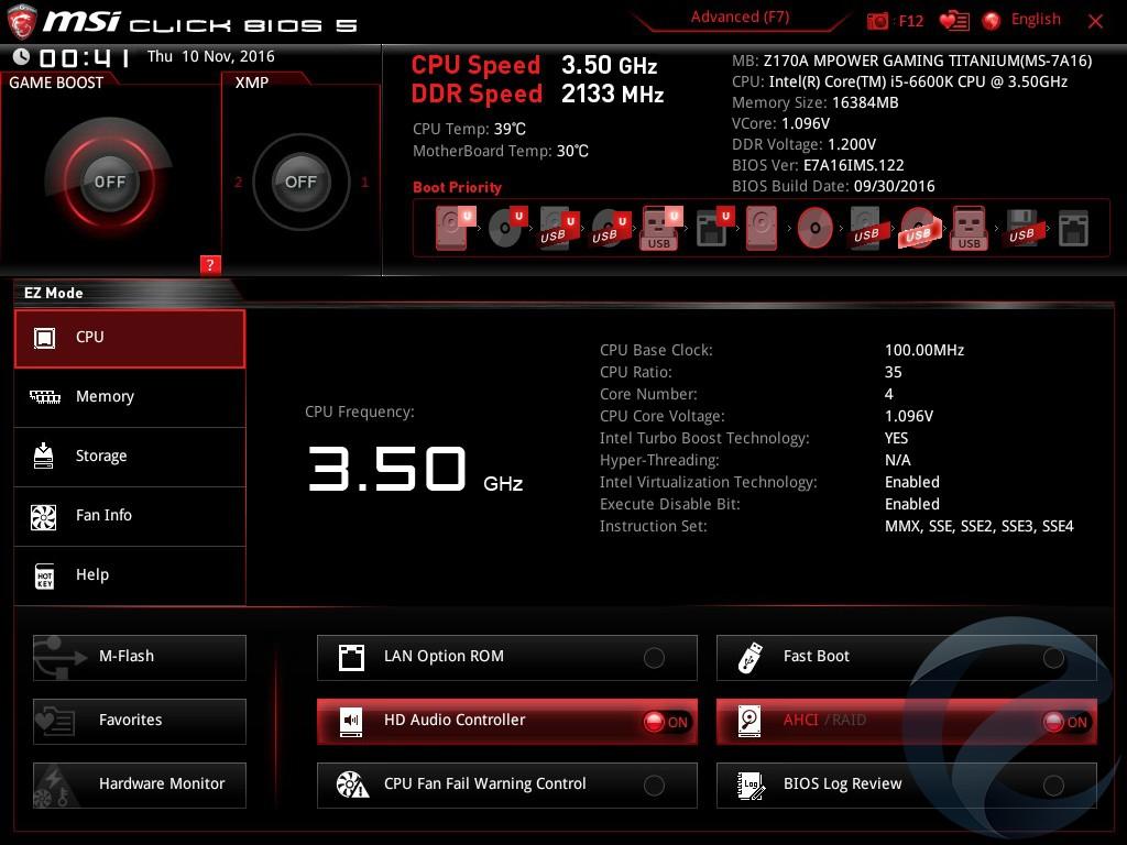 Интерфейс UEFI BIOS платы MSI Z170A MPOWER GAMING TITANIUM
