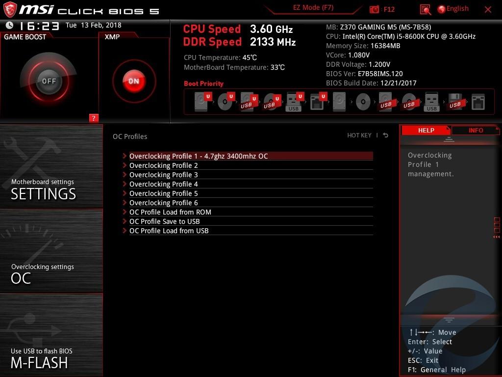 Интерфейс UEFI BIOS материнской платы MSI Z370 GAMING M5