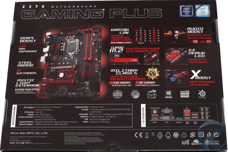 Упаковка и комплектация материнской платы MSI Z370 GAMING PLUS