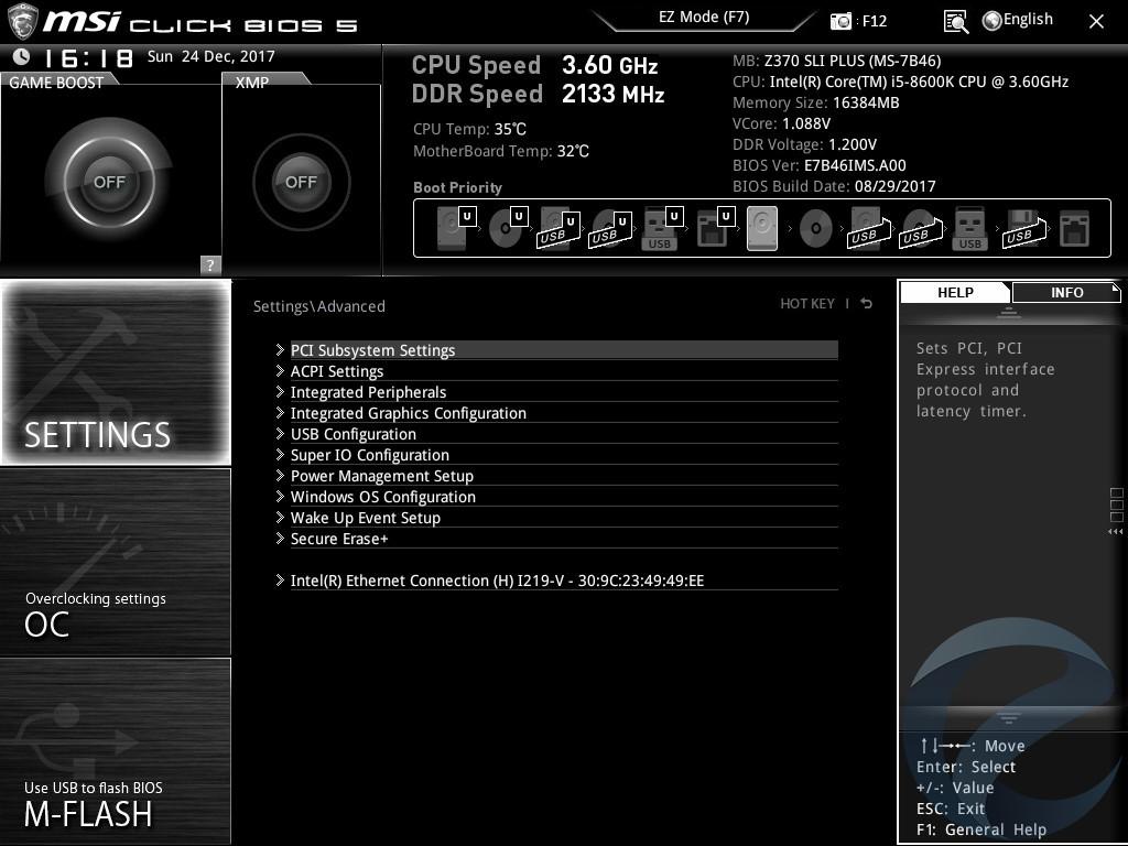 Интерфейс UEFI BIOS материнской платы MSI Z370 SLI PLUS
