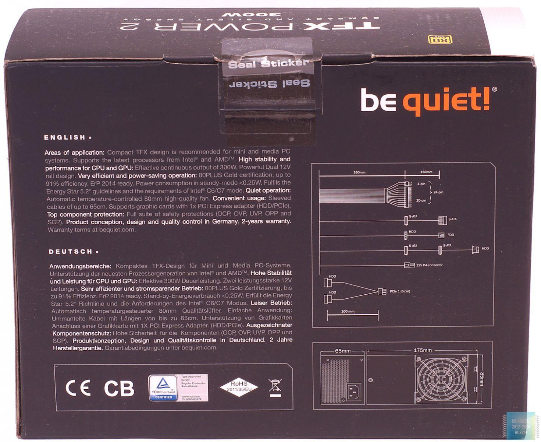 Упаковка и комплектация блока питания be quiet! TFX Power 2 300W