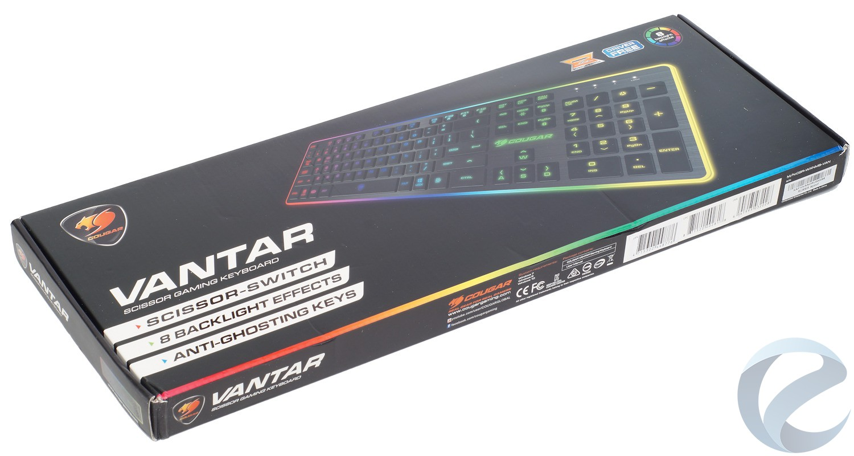 Упаковка и комплектация игровой клавиатуры COUGAR Vantar